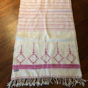 Matta fringed oblong wool scarf with embroidery